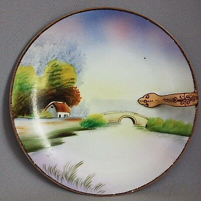 SALE! Antique Vintage NIPPON Hand Painted NAPPY Bridge Scene MORIAGE HANDLE