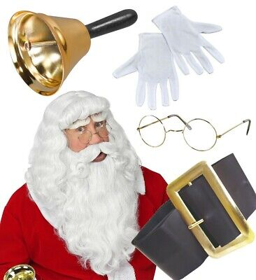 Premium Santa Claus Grotto Set Gold Bell Spectacles White Gloves Wig Beard ADULT