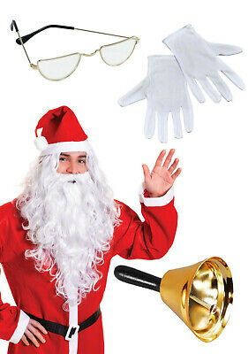 Santa Claus Grotto Professional Set Gold Bell Spectacles White Gloves Wig &Beard