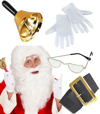 Santa Claus Grotto Set Gold Bell Spectacles White Gloves Wig Beard Professional