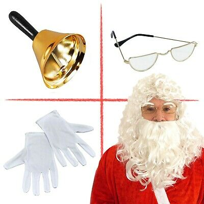 Santa Claus Grotto Set Gold Bell Spectacles White Gloves Wig & Beard Premium UK