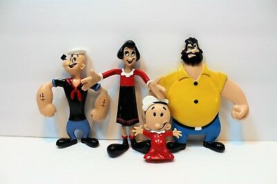 LOT OF 4 Vintage Bendy ToyS 1993 Bendable Poseable POPEYE OLIVE BLUTO SWEET PEA