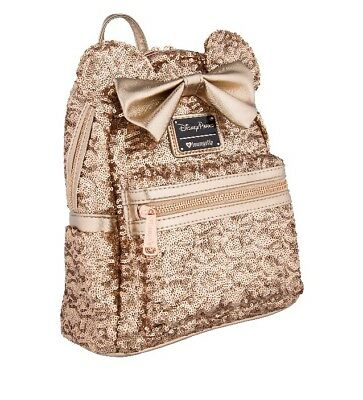 New With Tags! Loungefly Disney Minnie Rose Gold Mini Backpack!