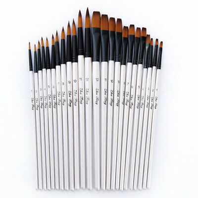 12Pc/set Artist Watercolor Painting Brushes Brush Oil Acrylic Flat&Tip Paint Kit
