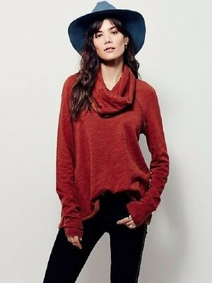 4a9dade3d1 NWT Free People FP Beach Cocoon Pullover Cowl Neck Long Sleeve Top Red XS/S