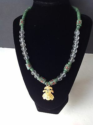 EGYPTIAN REVIVAL Necklace Faience Bead, Crystal & Goddess Amulet