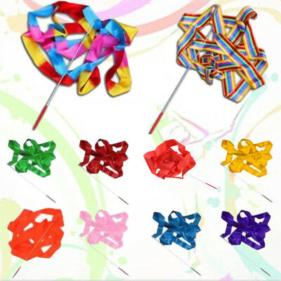 10 Color 4M Dance Ribbon Gym Rhythmic Art Gymnastic Ballet Streamer Twirling US