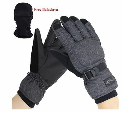 Men's Waterproof Thinsulate Ski Snowboard Gloves Winter Warm Gloves w/ Balaclava