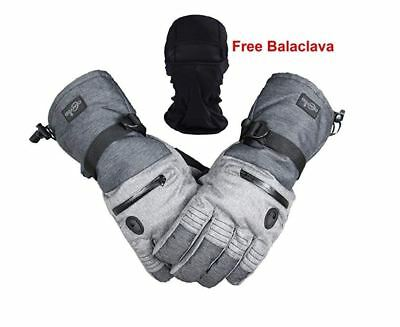 Mens Waterproof Thinsulate Ski Snowboard Gloves Winter Touch Gloves w/ Balaclava