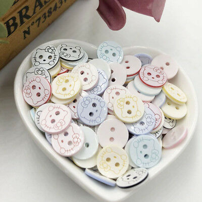 100pcs Mix New Cat Plum 13mm 2holes Plastic Button/Sewing lots PT253