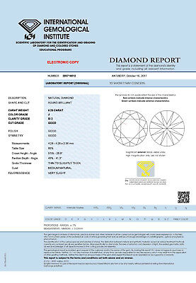 DIAMANT 0.25ct Brillant SI2 Top Crystal (J) IGI