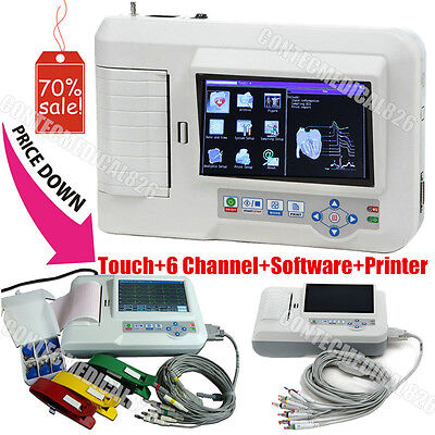 New 6 Channel ECG Monitor EKG Machine Touch Electrocardiograph+Printer+Software