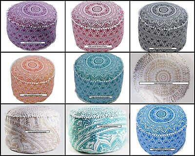 Ottoman Cover Tapestry Cotton Mandala Style Decorative Round Textile Collage Art