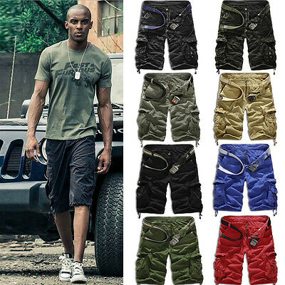 Mens Cargo 3/4 Shorts Pants Casual Army Combat Camo Summer Work Trousers Bottoms