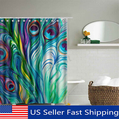 Peacock Feather Waterproof Polyester Fabric Shower Curtain Bathroom with 12 Hook