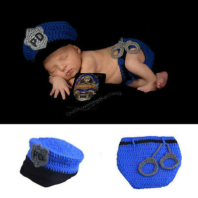 Newborn Baby Infant Police Crochet Knit Costume Photography Prop Hats Outfits