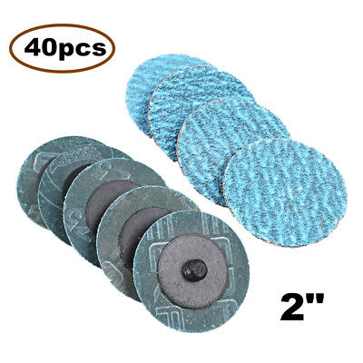 "40pcs 2"" 50mm Roloc Quick Change Sanding Discs 40 Grit for All Metal"