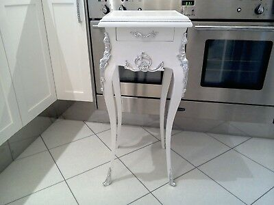 French Chateau side table, with drawer, quartz top, silver mounts, refurbished