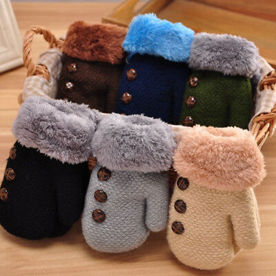 Newborn Baby Boy Girl Cute Winter Warm Kids Thick Fur Gloves Mittens With String