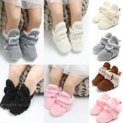 0-18M Baby Boy Girl Warm Crib Shoes Plush Slippers Toddler Trainers Prewalker US