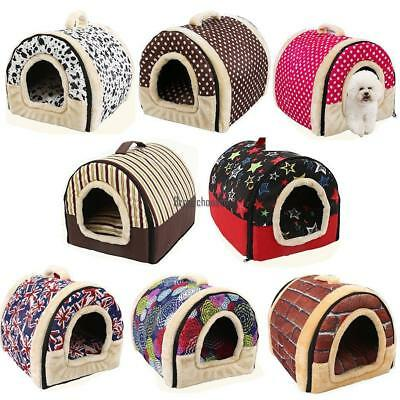 Foldable Indoor Cat Dog Pet House Removable Cushion Bed BRCE