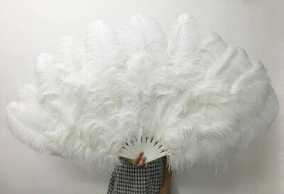 """White XL 2 layers Ostrich Feather Fan 60"""" with leather Travel Bag"""