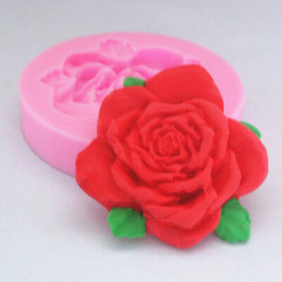1X 3D Silicone Rose Flower Shape Fondant Cake Mold DIY Soap Candle Mould Tool B2