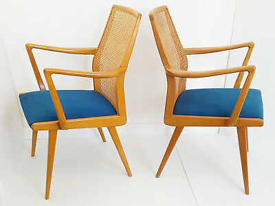 Pair Of Armchairs Scandinavian Swedish Akerblom 1950 Vintage Caning 50S 50's