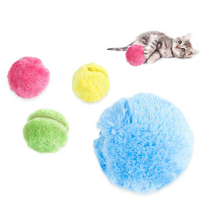 Pet Dog Cat Play Plush Toy Electric Ball Automatic Roller + 4 Fleece Ball Cover