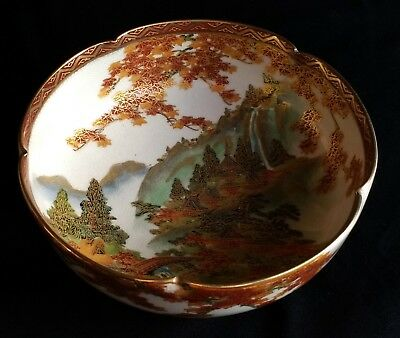 Beautiful Japanese Satsuma bowl Early 20th Century Traditional landscape