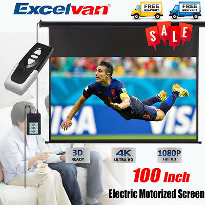 """100""""Inch Electric Motorized HD Projector Projection Screen Cinema Theater+Remote"""