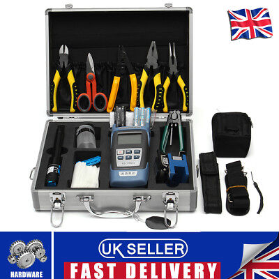 25PCS Fiber Optic FTTH Tool Kit+ FC-6S Cleaver Optical Power Adater Meter+Box UK