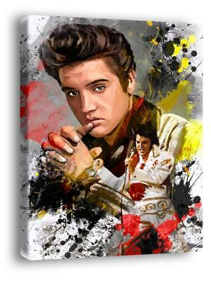 ELVIS PRESLEY WITH CHARCOAL SOFT PASTEL PAINT PRINT ON FRAMED CANVAS WALL ART