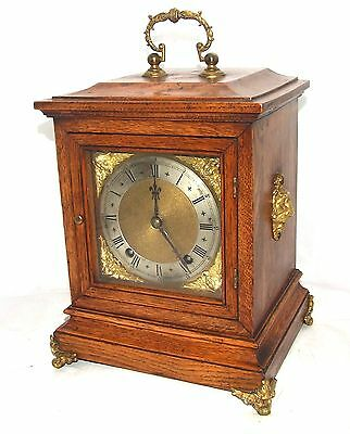 Antique Oak & Brass Ormolu TING TANG Bracket Mantel Clock : Winterhalder W & H