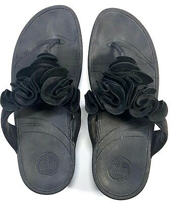 4099f093849e24 Fitflop Fleur Women US sz 7 Black Ruffle Thong Slide Sandals Casual Shoe  137-001