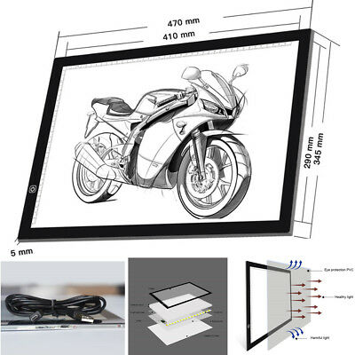 A3 A4 LED Stencil Board Light Box Artist Tracing Drawing Copy Plate Table Pad