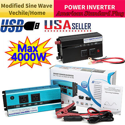 Power Inverter 5000W-2000W 12V To 110V 120V Converter 4 USB Invertor Car Caravan
