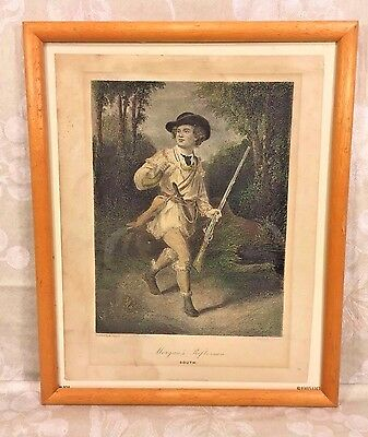 Antique Engraving Morgan's Rifleman Hand Colored after Painting by A Chappel