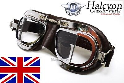 Hand Made Halcyon Mark 9 Deluxe Driving / Riding / Flying Goggles In Brown