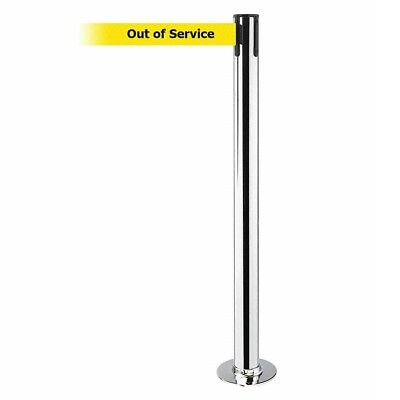 """Tensabarrier 889F-3S-3S-STD-NO-YEX-C Post, 7'6"""" Length Yellow Out Of Service"""