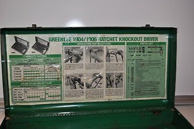 EMPTY Greenlee 1904 Ratchet Knockout Punch Driver Set STORAGE BOX ONLY.