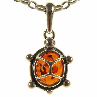 Baltic Amber Sterling Silver 925 Tortoise Turtle Pendant Necklace Jewellery Gift