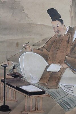 "Antique Japanese hanging scroll ""Samurai writing letter "" on paper  o07"