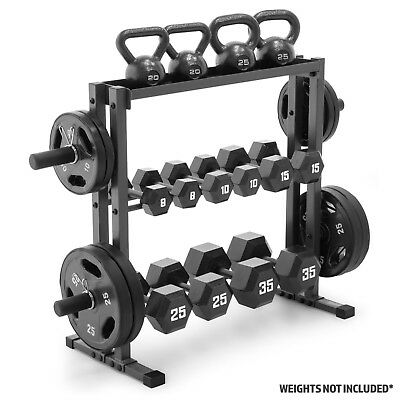 Marcy DBR-0117 Combo Weight Storage Rack - For Plates, Dumbbells & Kettlebells