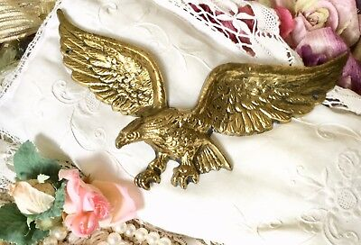 "Vintage 9"" American Bald Eagle Wings Wall Hanging Brass Plaque  No. 7037"