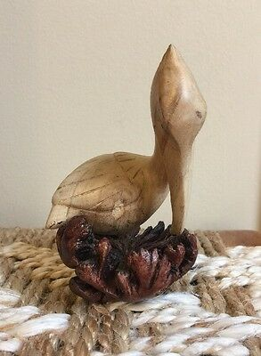 """Carved Wood PELICAN 6"""" Coastal HAND CARVED WOODEN Nautical Decor Pre-Owned"""