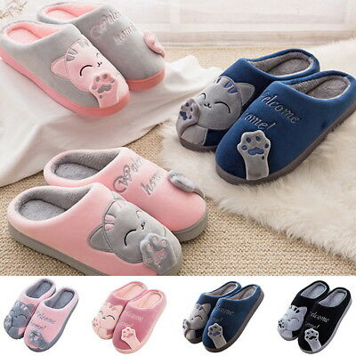 US Womens Winter Cute Cat Indoor Slippers Soft Home Plush House Shoes