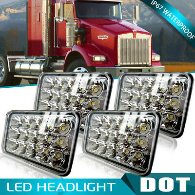 "4pcs 4x6"" Led Headlights Sealed Beam Light Bulbs Fit Western Star 4900 Kenworth"