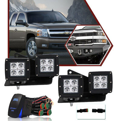 4X 3inch LED Lights Pods OffRoad Mounting Bracket FOR Chevrolet Silverado 1500