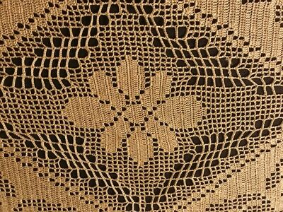 "Old Vintage Gorgeous Oval Crochet Lace Ecru Tablecloth 40"" x 31"" Home Decor"